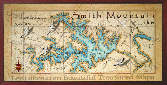 Smith Mountain Lake Map Smith Mountain Lake decor map