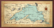Lake Superior Map 16X32 canvas print