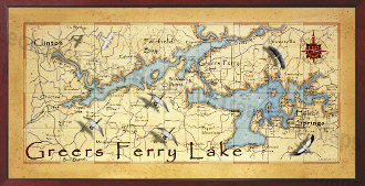 Greers Ferry Lake Map  16X32