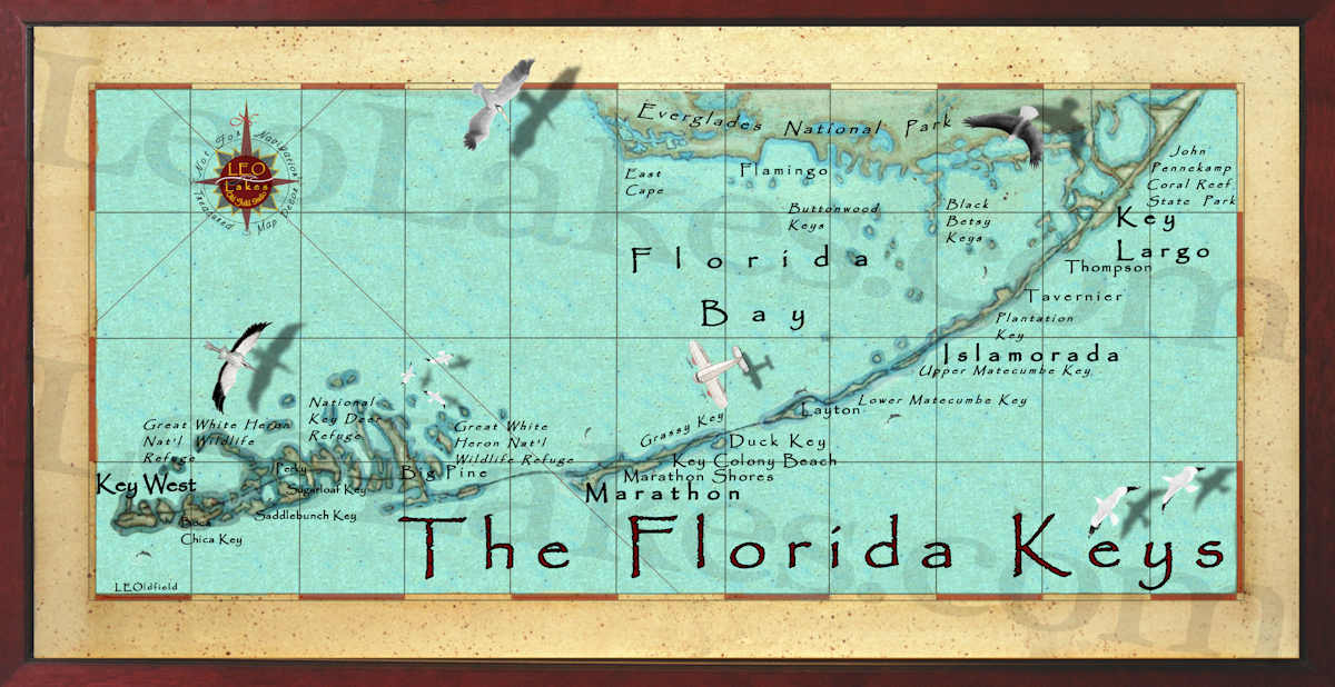 Florida Keys Decor Map