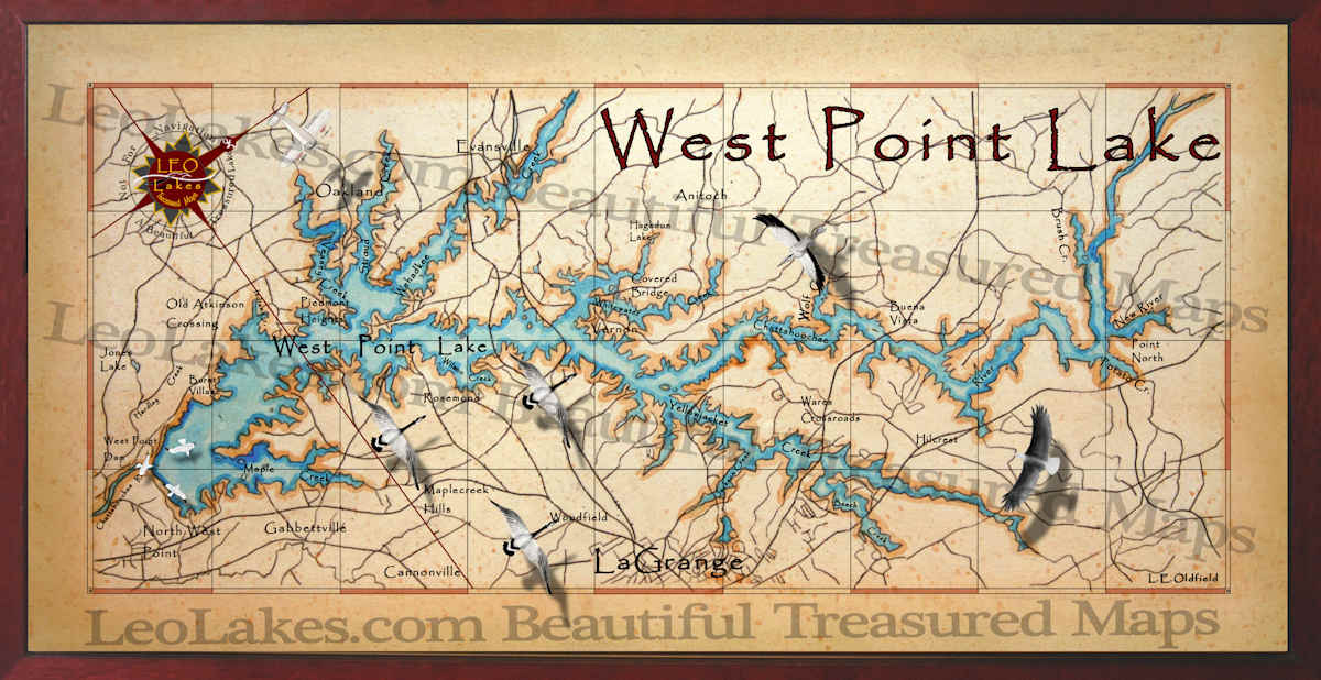 West Point Lake Map West Point Lake decor map